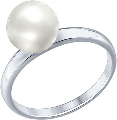Серебряное кольцо SOKOLOV 94012338_s с искусственным жемчугом, размер 17 мм