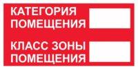 Знак Категория помещения, класс зоны помещения