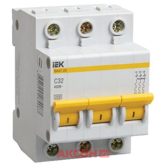 MVA20-3-020-C Выключатель автоматический трехполюсный 20 А С ВА47-29 4. 5кА (IEK)