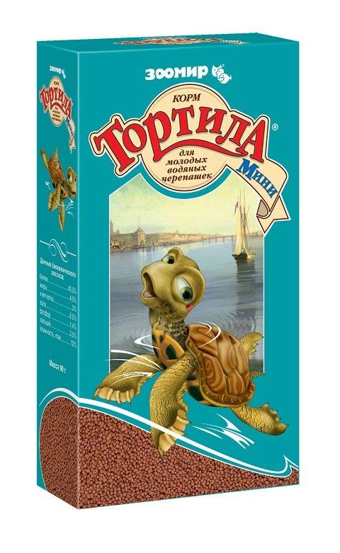 Корм-гранулы «Тортила Мини» для молодых водяных черепах, Зоомир New (90 гр)