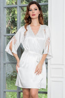 Укороченный белый шелковый женский халат