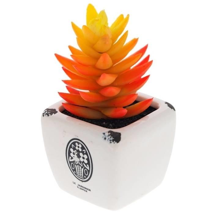 """- Цветочная композиция 691359 Искусственный цветок в керамическом кашпо """"Кактус"""", L5 W5 H8 см полимерные м"""