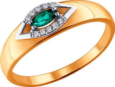 Золотое кольцо SOKOLOV 3010525_s с изумрудом, бриллиантами, размер 17,5 мм