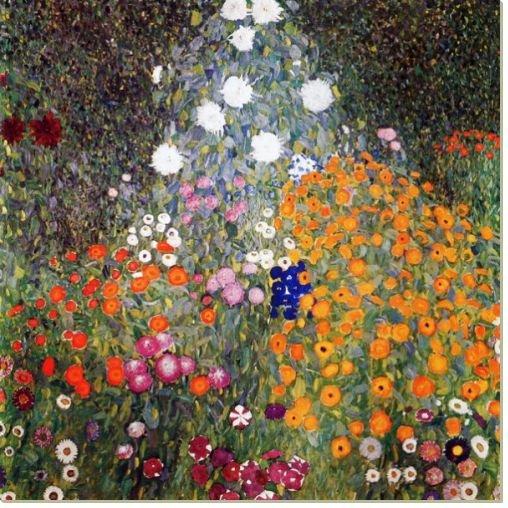 Репродукция Цветущий сад, Климт Густав, 100x100, Цветы, Цветы в природе, Австрийская