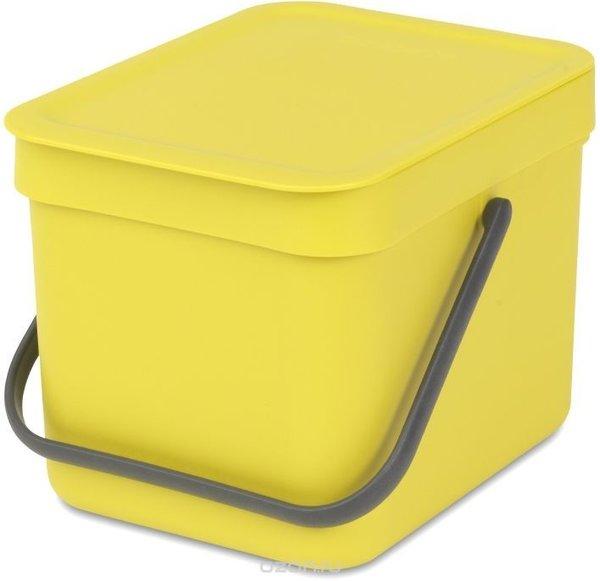 """Ведро для мусора Brabantia """"Sort & Go"""", цвет: желтый, 6 л"""