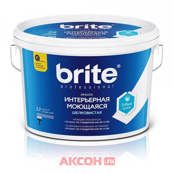 краска brite professional интерьерная моющаяся шелковистая база а, 2,7 л