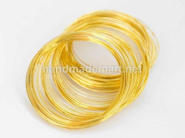 Стальная Проволока с памятью, Золотистая, Диаметр 115 мм, Толщина 0.6 мм, 10 колец ( MW11.5CM-G)
