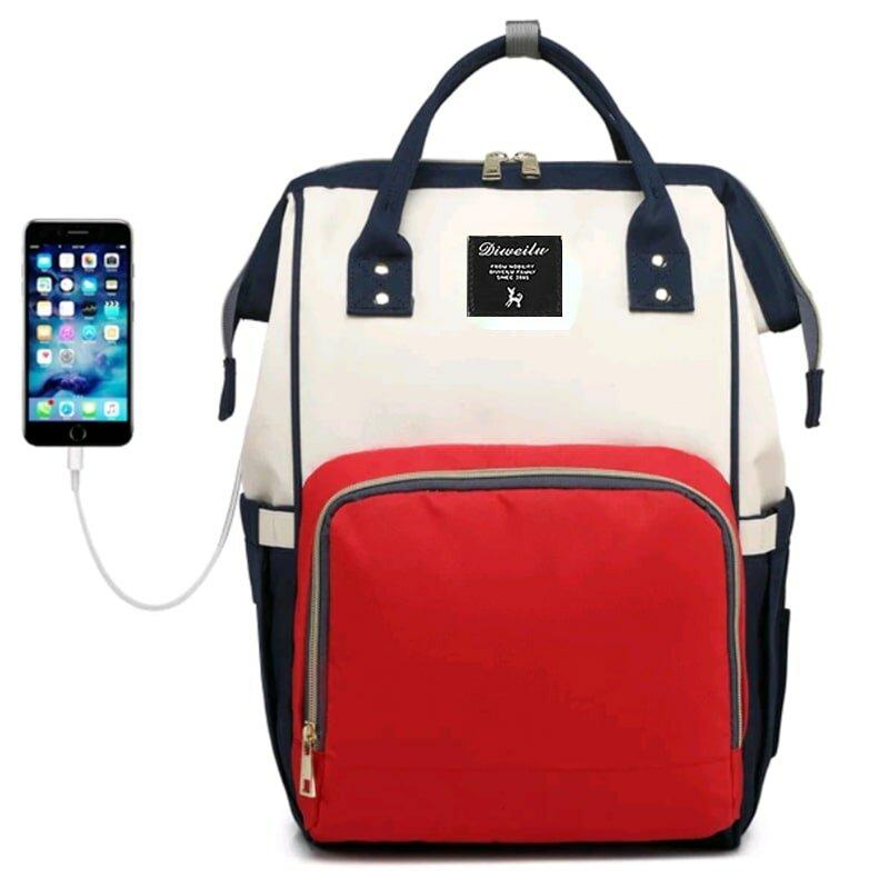 Рюкзак для мамы Diweilu с USB красно-белый
