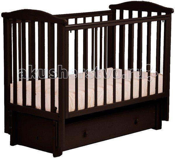 Детская кроватка Кубаньлесстрой АБ 15.3 Лютик маятник продольный с ящиком Венге