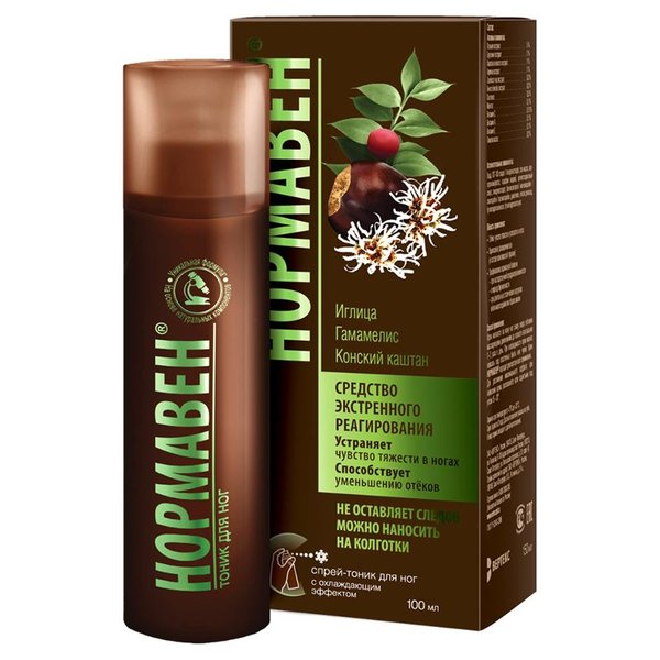 Тоник-спрей для ног Нормавен, 100 мл, венотонизирующий, на основе экстрактов лекарственных растений, эфирных масел и витаминов
