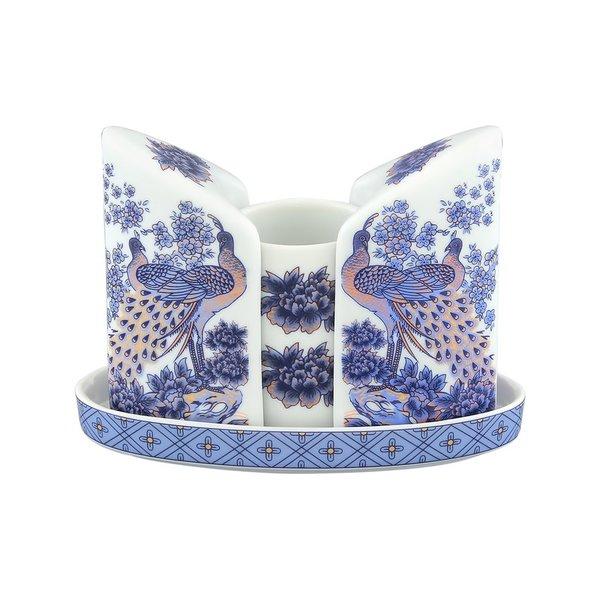 Набор для специй фарфоровый на подставке Elan Gallery Павлин синий (вазочка под зубочистки, солонка, перечница)