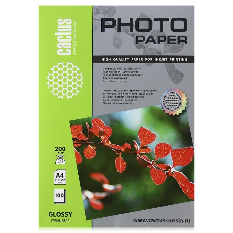 фотобумага A4 Cactus CS-GA4200100, 200 г/м2