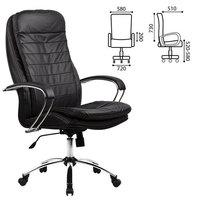 Кресло офисное метта LK-3CH, кожа, хром, черное, 85307 Метта