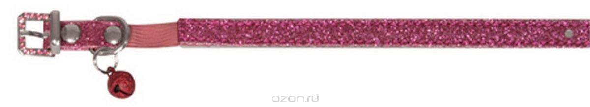 """Ошейник для кошек """"Dezzie"""", с бубенчиком, цвет: темно-розовый, обхват шеи 26 см, ширина 1 см. Размер XS. 5624402"""
