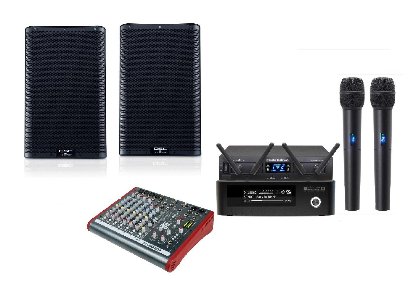 Караоке - комплект для дома Evolution Lite 2 Plus с микрофонами Audio-Technica ATW-1322, микшером и колонками QSC K10.2