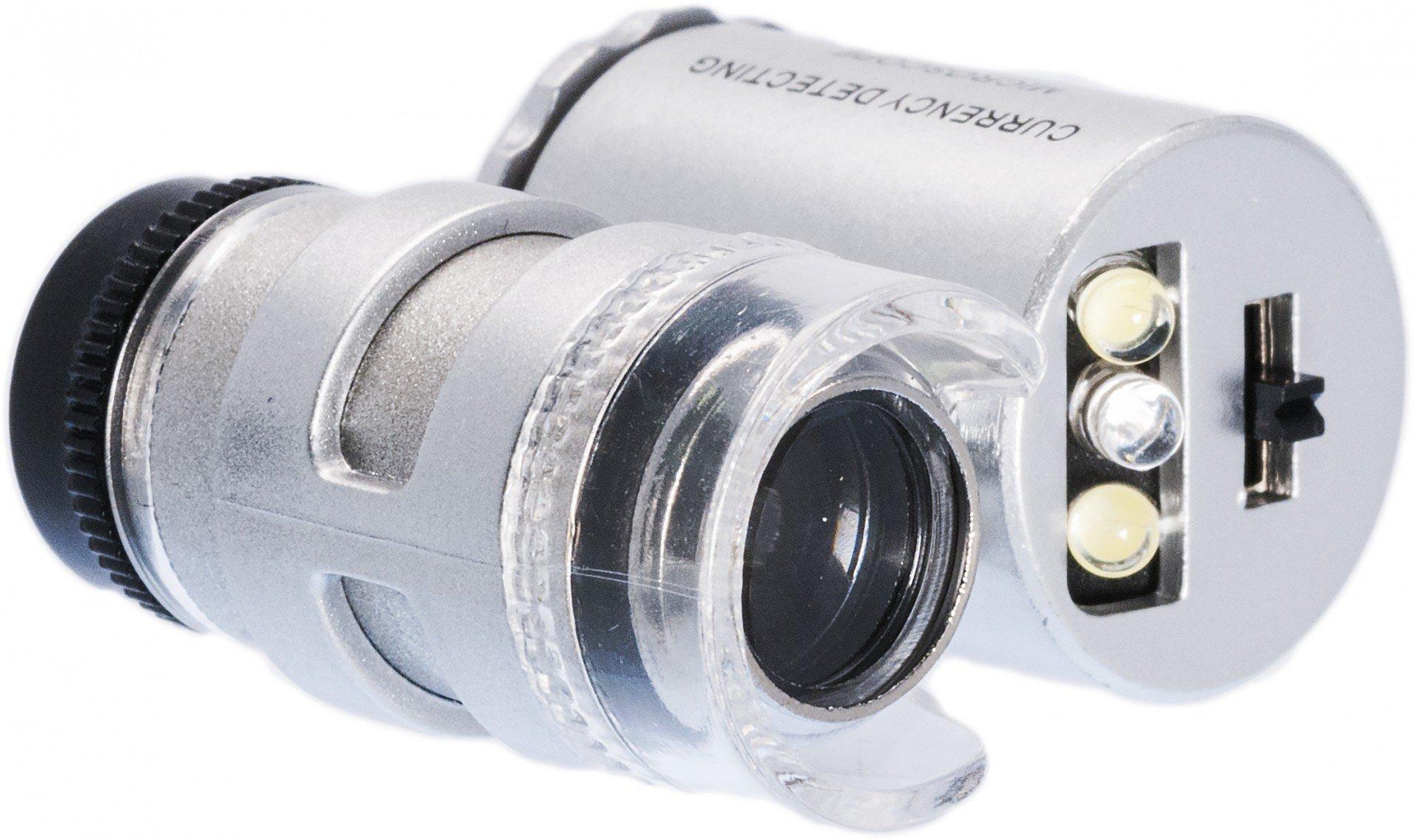 Карманный микроскоп с 60-кратным увеличением, с подсветкой
