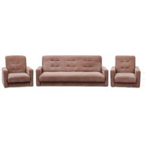 Комплект Стоффмебель (ЛМФ) (диван+ 2 кресла) Лондон-2 рогожка коричневый