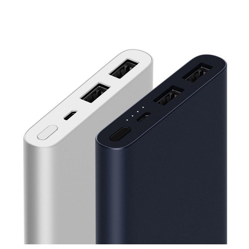 Внешний аккумулятор XIAOMI Mi Power Bank 2i 10000 mAh (2xUSB), алюминий, серебристый