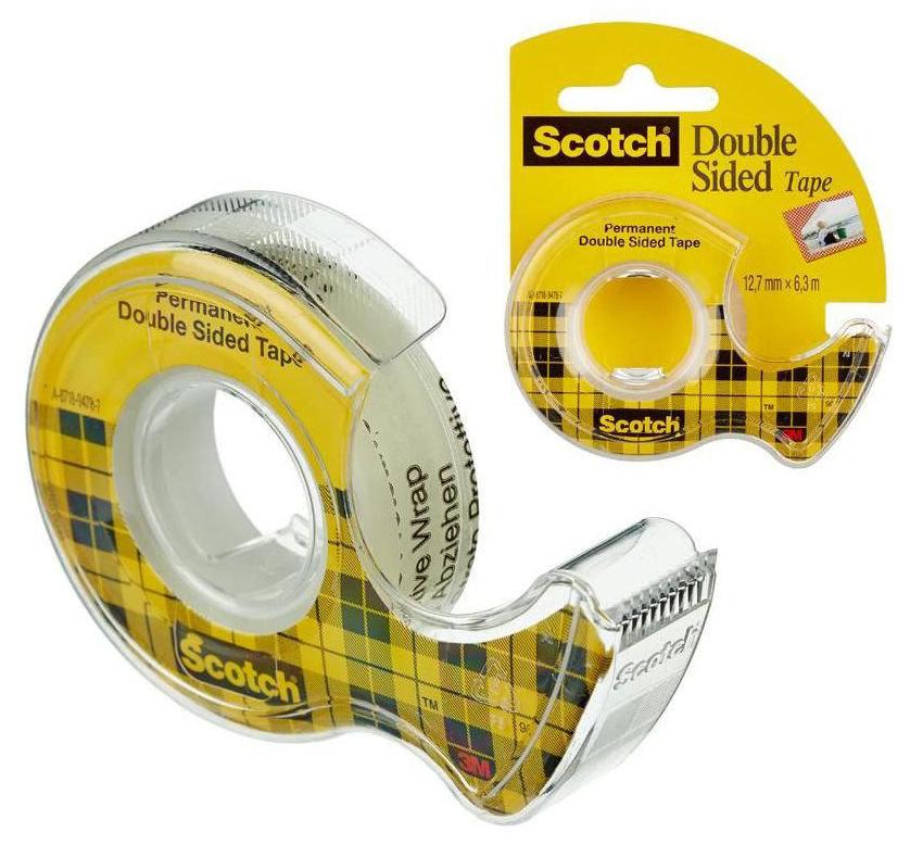 Клейкая лента двусторонняя 3M Scotch 136 7100093103 шир.12мм дл.6.3м
