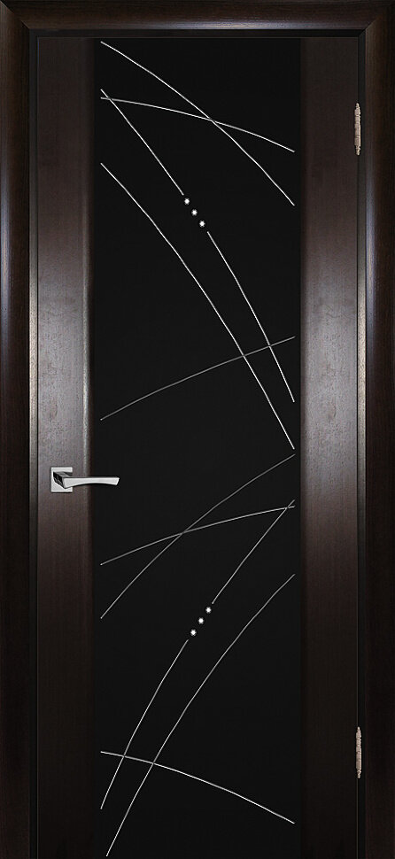 Межкомнатная дверь текона Страто 02, Тонированный черный дуб со стеклом Черное триплекс гравировка, рис. Роса