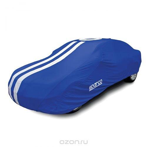 "Чехол-тент на автомобиль ""Sparco"", морозоустойчивый, цвет: синий. Размер XL"