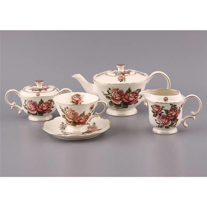 """Чайный сервиз Lefard 85-881 чайный сервиз на 6 персон 15 пр.""""корейская роза"""" 750/250 мл. фарфор"""