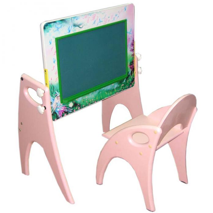 Набор мебели Интехпроект День-Ночь парта-мольберт розовый 14-355