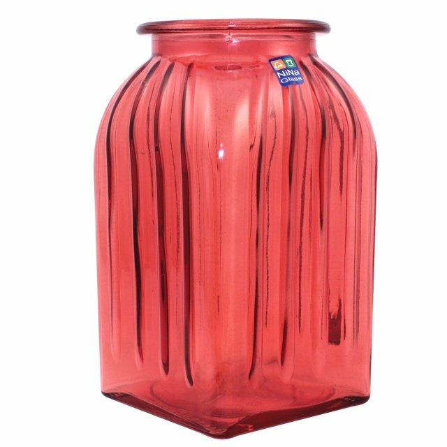 ваза ninaglass ханна 18,5см стекло красный