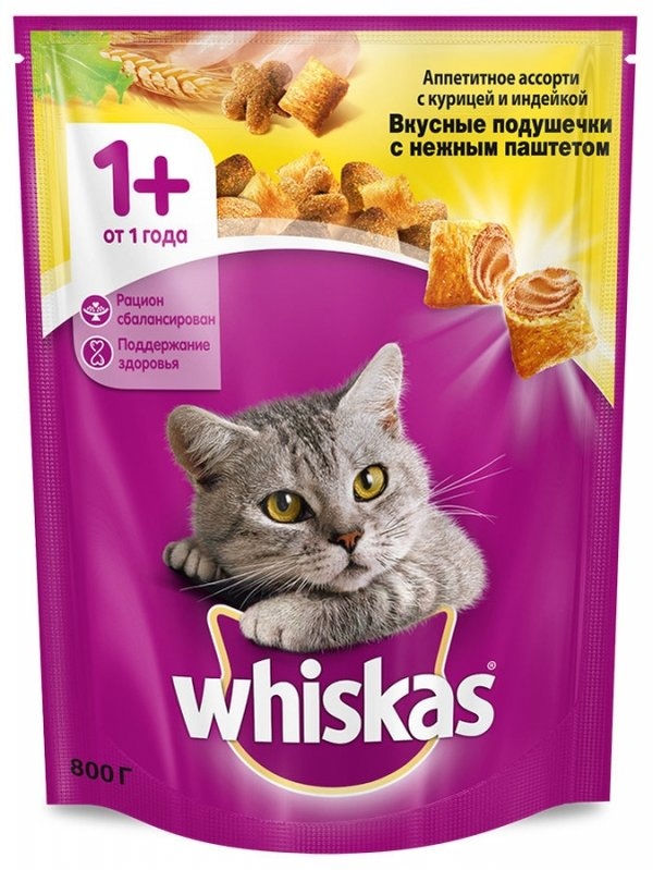 Корм сухой Whiskas для кошек подушечки, паштет с курицей и индейкой 800 г