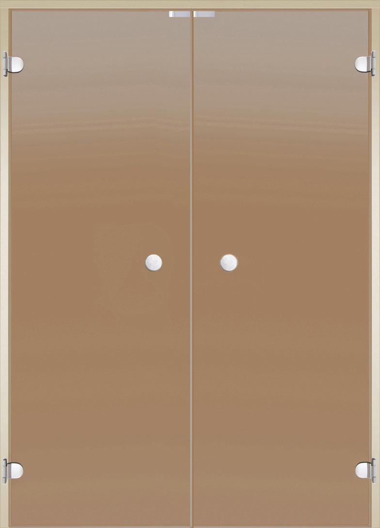 Harvia Стеклянная дверь для сауны, двойные 14/21 коробка ольха/осина, бронза 1400 х 2100 мм (enn01147)