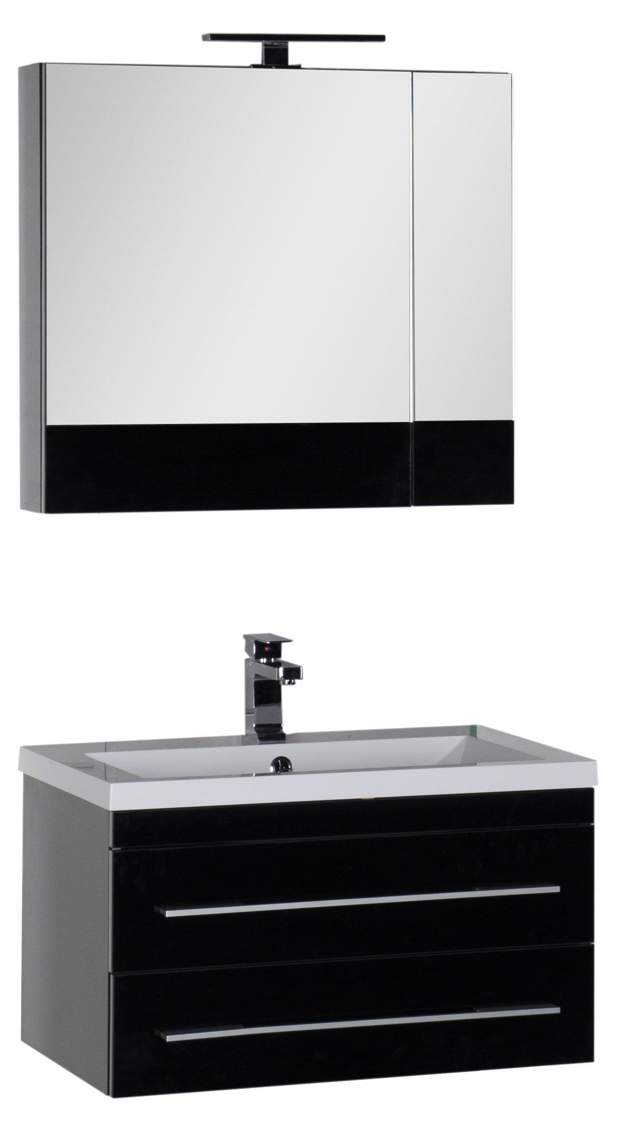 Мебель для ванной Aquanet Верона 75 подвесная черная (тумба, раковина, зеркало)