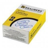 Скрепки BRAUBERG, 50 мм, никелированные, 50 шт., в картонной коробке,
