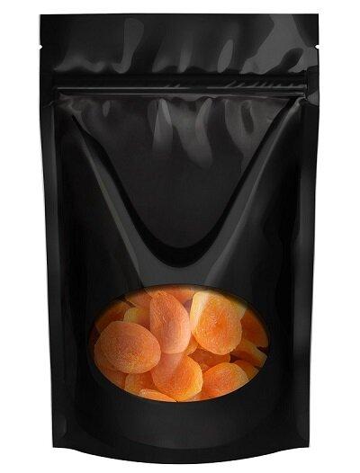 Пакет дой-пак черный с овальным окном 135*225 мм. В упаковке 100 шт.