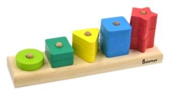 Пирамидка Счеты, 15 деталей, геометрические фигуры, деревянная игрушка Алатойс ПСЧ4002