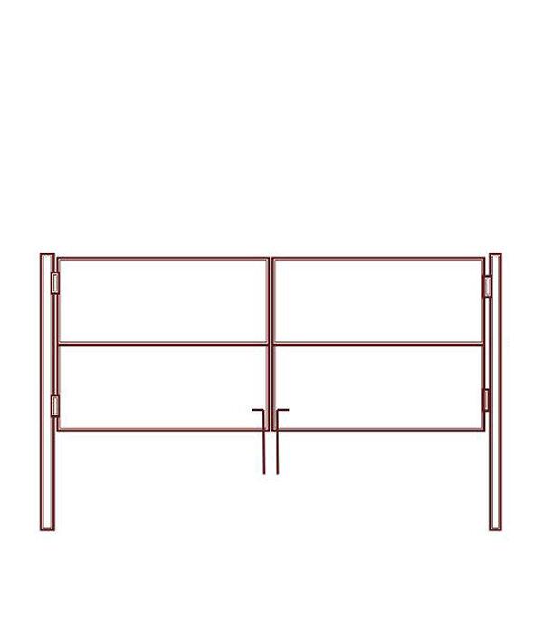 Ворота распашные каркас со столбами 1500х3000 мм грунт красно-коричневый