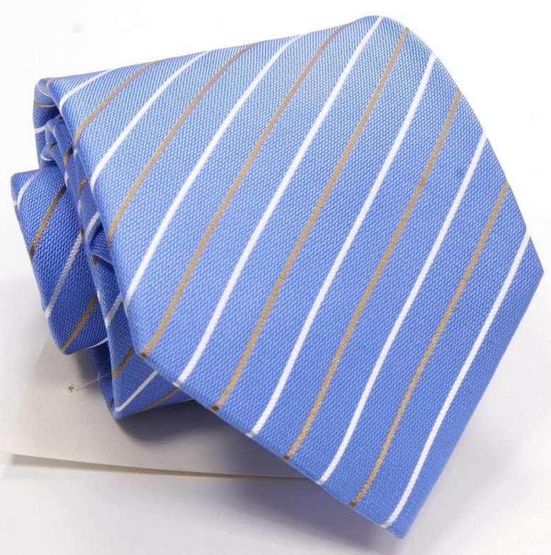 Голубой галстук в полоску ClubSeta 0030