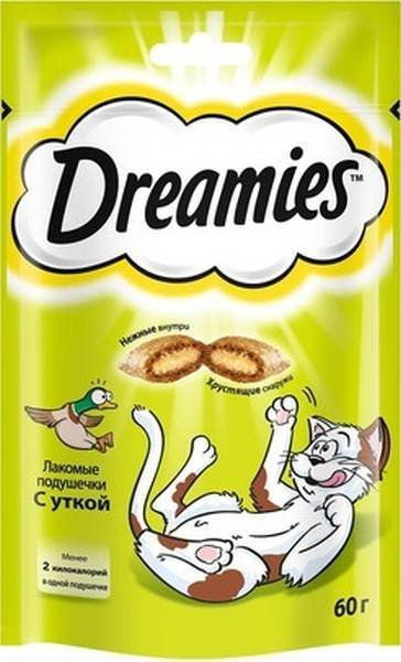Лакомства Dreamies Лакомство для кошек Подушечки с Уткой