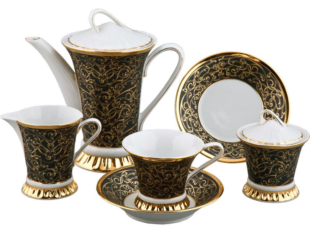 Сервиз чайный 15 предметов на 6 персон, Форма Светлана Золотой узор