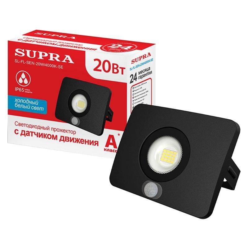 Прожектор светодиодный SUPRA SL-FL-SEN-20W/4000K-SE, датчик движения
