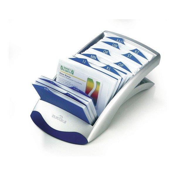 Визитница настольная DURABLE Visifix Desk на 200 визиток, 100 вкладышей, пластик серебристая