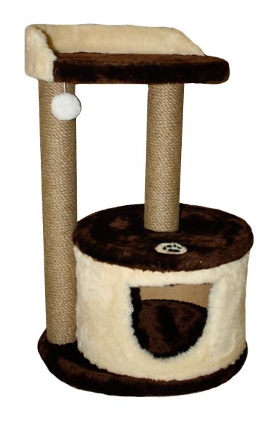 Когтеточка для кошек с домиком и лежанкой 222, коричнево-бежевая