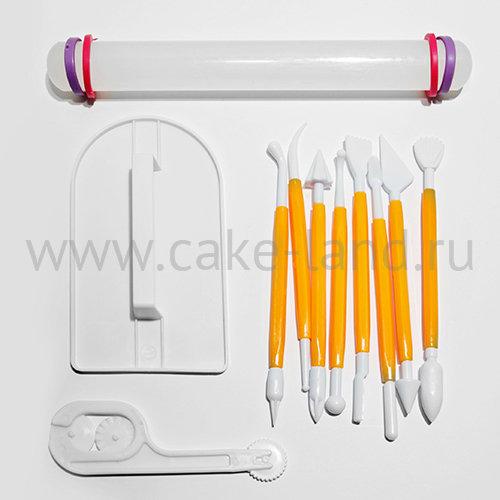 Набор для мастики стеки, утюжок, роликовый нож и скалка с кольцами