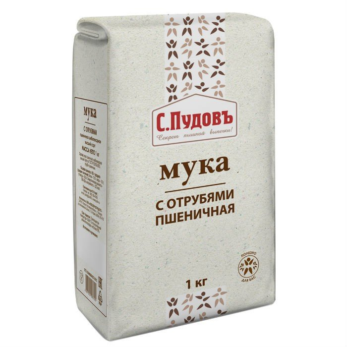 Мука пшеничная с отрубями «С. Пудовъ», 1 кг