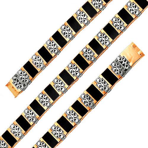 Мужской золотой браслет цепь BADINI 36-0005 с ониксом, размер 22 мм