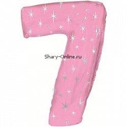 Фольгированный шар цифра 7 «Розовая со звездами», 107 см