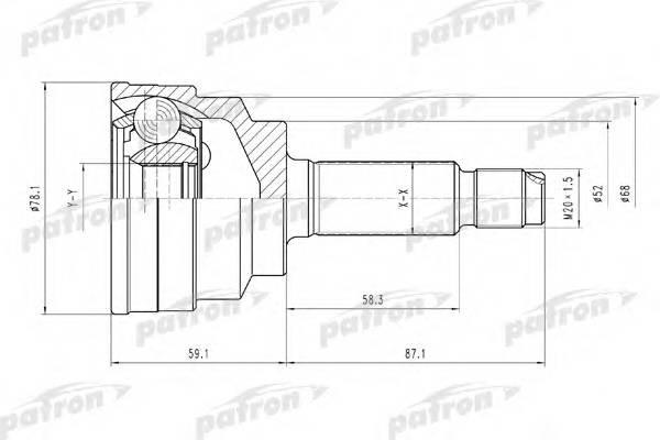 Шрус наружн комплект kia rio 00-05 Patron PCV1548