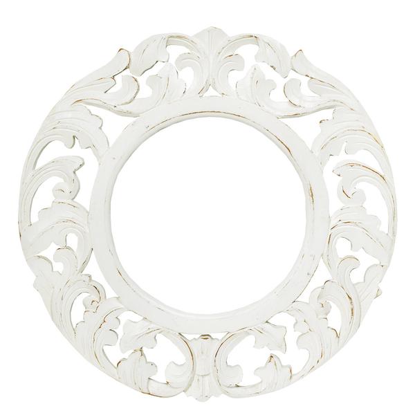 Рама Резная для зеркала (4мм) д50(28)см багет11см White Wash дерево (Рамы для зеркал)