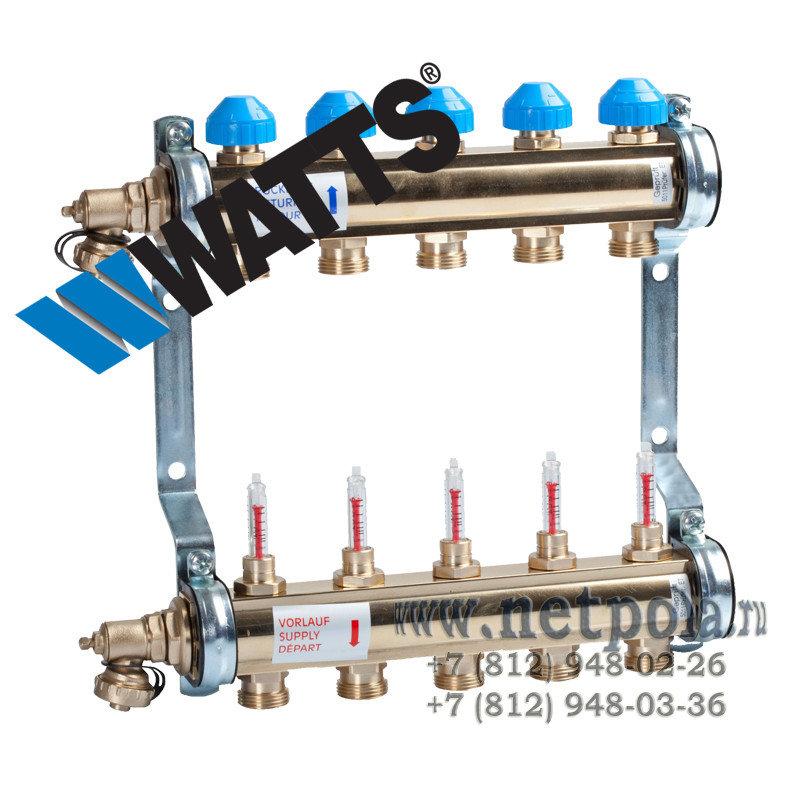 """Коллектор WATTS 1""""x3/4"""" 4Вых Латунь с Термостат вентилями и Расходомерами"""