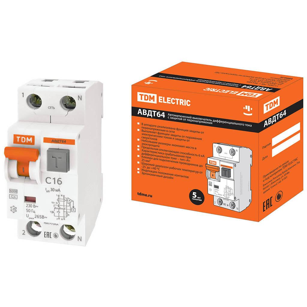 Автоматический выключатель дифференциального тока TDM Electric SQ0205-0004 АВДТ 64 C16, 30 мА
