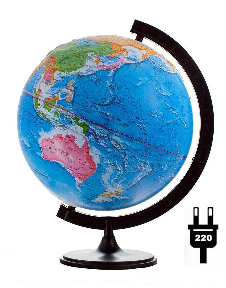 Глобус политический рельефный диаметром 320 мм, с подсветкой